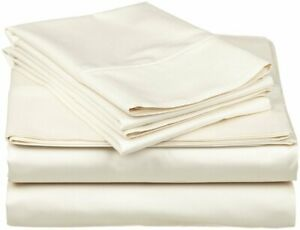 All Extra Deep Pkt & Bed Sheet Set 1000 TC Egyptian Cotton Ivory solid