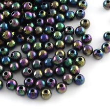 50 x 8mm Black Acrylic Round Beads Ab Solid