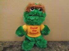 VINTAGE HASBRO SESAME STREET PLUSH TOY, OSCAR, W/YELLOW SHIRT, 9""