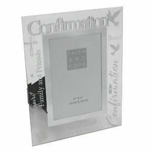 Confirmation 4 x 6 Glass Photo Frame with Mirror Letters and Wording
