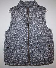 Gap Kids NWT Girl's Gray Ditsy Print Floral Puffer Vest Coat Jacket