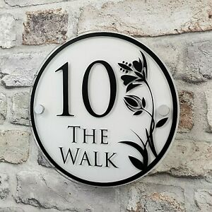 PERSONALISED HOUSE NUMBER SIGN STREET ADDRESS PLAQUE ROUND DECORATIVE FLORAL