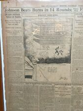 Jack Johnson Beats Burns in 14 Rounds(12/26/1908)original newspaper