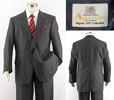 AQUASCUTUM of LONDON Regent 100 Textured Blue Gray 2-Btn Wool Suit ~ 42R