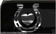 Horse Shoe and Heart Sticker Horseshoe Love all chrome and regular vinyl colors