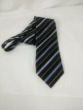Men's ERMENEGILDO ZEGNA blue striped  necktie silk blend Made in Italy