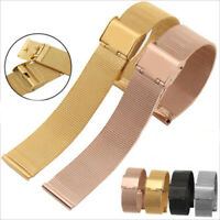 Mesh Double Buckle Metal Bracelet Stainless Steel Replacement Watch Band Strap