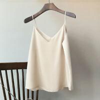 Women Satin Faux Silk Camisole Tank Top Vest V-Neck Strap Undershirt Loose Beach
