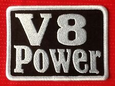 V8 POWER MUSCLE CAR MOTOR RACING SPORTS HORSE POWER BADGE IRON SEW ON PATCH