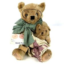 Vintage Mama and Baby Stuffed Teddy Bear Sewing Themed Quilting Jointed