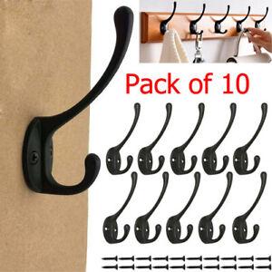 10Pack Wall Door Coat Hanger Hooks Hat Clothes Bathroom Robe Peg Holder+Fittings