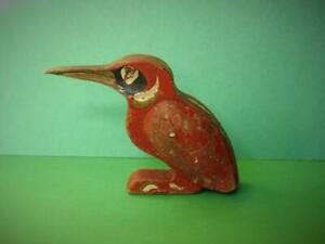 VINTAGE 1940s HAND MADE WWII HAND PAINTED WOODEN KINGFISHER WITH LEATHER WINGS