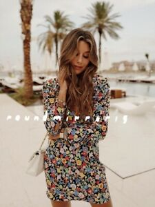 NWT Zara Multicoloured Floral Mini Dress With Puff Sleeves RRP £ 49.99 Size M