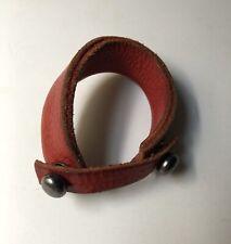Leather Bracelet Handmade Mens Cowhide Ny Designer Red  Signed