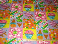 Ice Cream Popsicle Cupcake Fleece Fabric  by the Yard