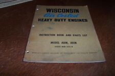 WISCONSIN ABM AKM   ENGINES INSTRUCTION BOOK PARTS LIST MM-255-B
