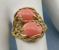 Vintage Beautiful Genuine Double Coral Cocktail Ring Size7.5-14K Yellow Gold