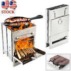 Folding Stainless Steel Wood Burning Stove Outdoor Camping Picnic BBQ Portable photo