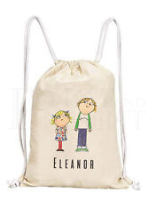 Personalised Childrens Charlie & Lola Drawstring Canvas Gym/ PE Bag