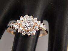 14k YG Designer Unique 1.16 tcw Natural Diamond Halo Swirl Ring F/SI Stunning