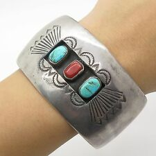 """Old Pawn 925 Sterling Silver Turquoise Coral Gemstone Handmade Cuff Bracelet 7"""""""