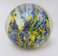 Vintage Art Glass Paperweight Stunning Blue & Yellow Floral Swirl Murano?