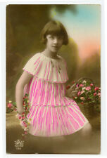 1920s Child Children PRETTY YOUNG GIRL French photo postcard