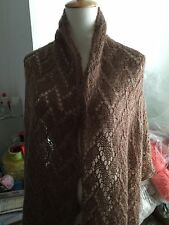 handknit wool & mohair blend  lace scarf/stole/wrap color in chocolate