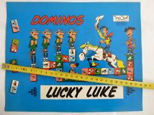 Affichette Dominos LUCKY LUKE recto TINTIN verso 1970- Jeu NOEL - HERGE - NEUF