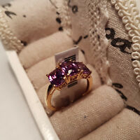Stunning AAA Cr Amethyst trilogy Ring in 14k gold/platinum over Sterling Silver