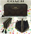COACH Signature PVC Small Double Zip Coin Case/Card Wallet Brown/Black F63975