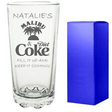Personalised Engraved Hi ball Highball Spirit mixer Glass Malibu And Diet Coke