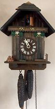 """German  2 Weight Driven Movement Carved Wood Case Cuckoo Clock GWO 8"""" L 6.5""""W"""
