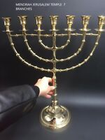 "Brass Copper 22"" XXL Vintage Menorah Candle Holder Israel Judaica From Jerusalem"