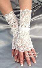 SEXY bianco pizzo elastico don Polsini Guanti senza dita mf4048 Scaldabraccia