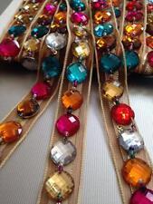 18mm multi strass perles ruban bordure en dentelle pour multi artisanat fins 1 yard