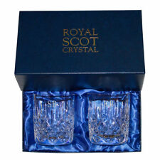 Personalised Cut Crystal Royal Scot Set Of 2 Whisky Glasses Perfect Gift Boxed