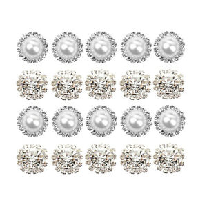 20 Pieces Mixed Shapes Fashion Round Flat Back Rhinestone Button Pearl