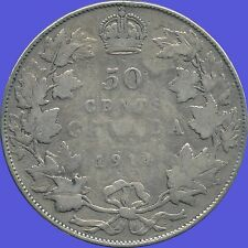 1914 Canada Silver 50 Cent Piece (11.66 Grams .925 Silver)