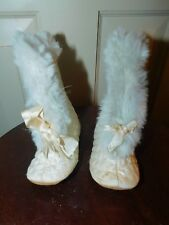 Antique Victorian Quilted fabric w/ Rabbit Fur trim Boots baby doll or infant