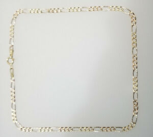 Real 10K Yellow White Rose Gold Anklet 2.5mm 10'' Figaro Link Chain Diamond Cut