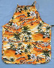 Tropical Hawaiian Aloha Adult Apron 3 Pockets Made in Hawaii Ocean Island Flower