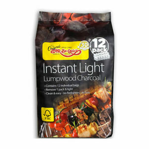 Outdoor Garden Quick Instant Light Burn Fuel Charcoal 12 Packs BBQ Barbecue