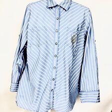 736e644b Tommy Hilfiger Women's Blouse Button Drown Long Sleeve Shirt Blue And White  Sz18