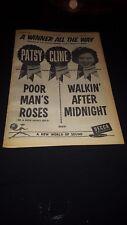 Patsy Cline Original Walkin' After Midnight 1957 Debut Promo Poster Ad Framed!
