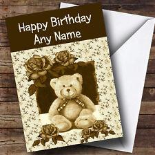 Vintage Teddy Bear Personalised Birthday Greetings Card