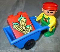 Lego Duplo Tierpfleger Wärter Figur Zoo Tiere Tierpark Schubkarre Mais aus 9191