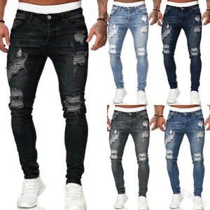 Mens Skinny Ripped Jeans Stretch Distressed Denim Pants Casual Slim Fit Trousers