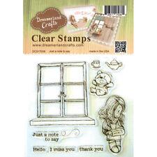 """Stempel Set """"Just a note to say"""" Dreamerland Crafts, Mädchen schreibt, Teddybär"""