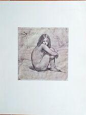 Jeune Fille Nue Assise par Jean-Baptiste Camille COROT Dessin Imprimé 225x232 mm